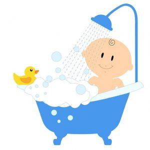 Dessin d'un enfant qui prend son bain